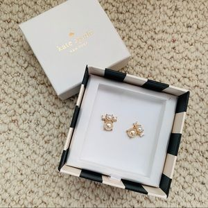 Kate Spade rose gold blush pearl earrings
